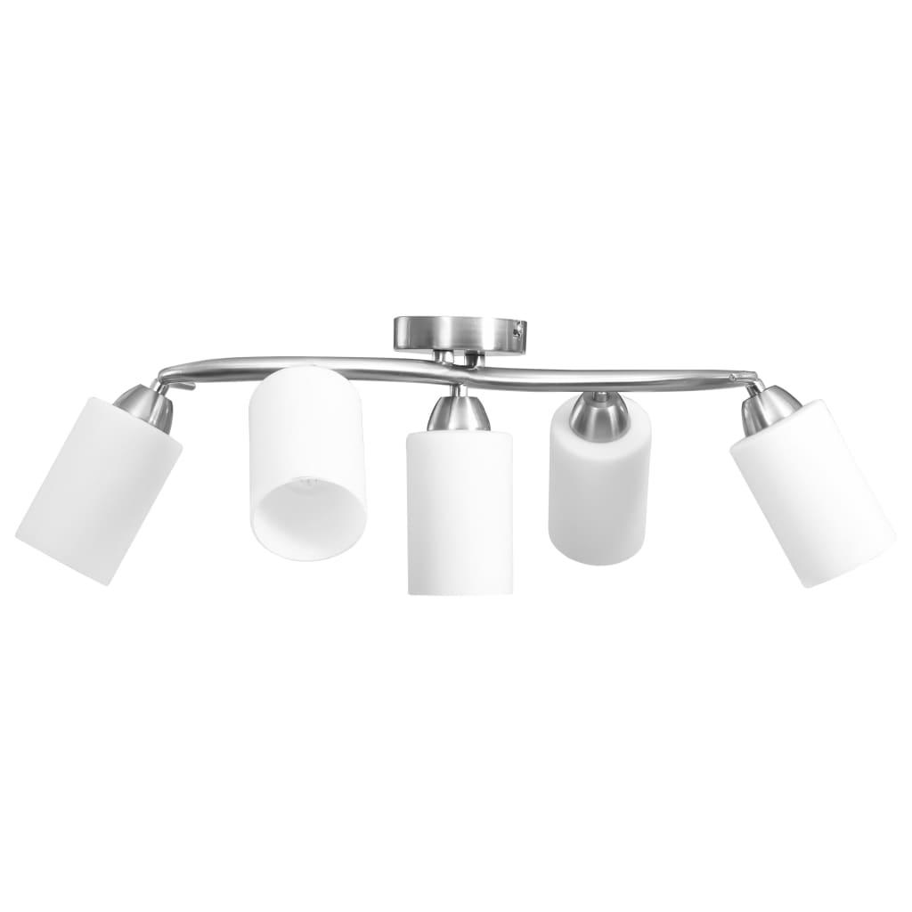 Taklampa med keramikskärmar för 5 E14-lampor vit kon