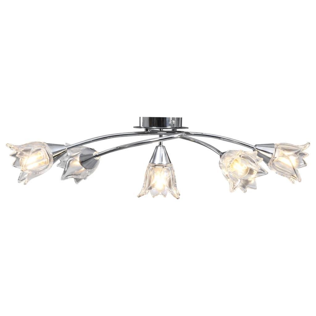 Taklampa med transparenta glasskärmar för 5 E14-lampor tulpan
