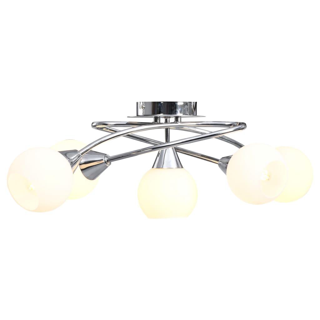 Taklampa med keramikskärmar för 5 E14-lampor vit klot