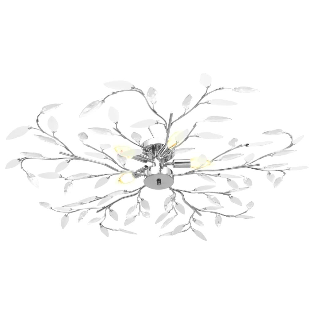 Taklampa med akrylblad för 5 E14-lampor vit