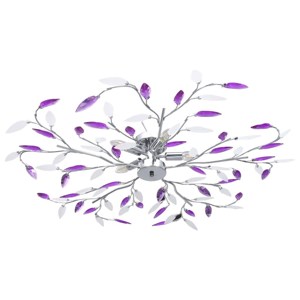 Taklampa med akrylblad för 5 E14-lampor lila