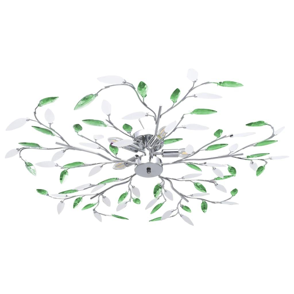 Taklampa med akrylblad för 5 E14-lampor grön