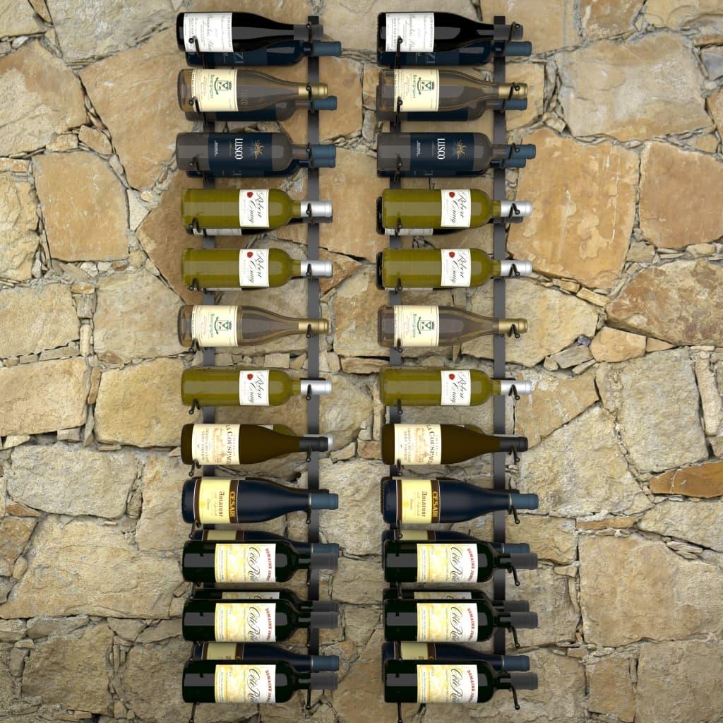 Väggmonterade vinställ för 48 flaskor 2 st svart järn