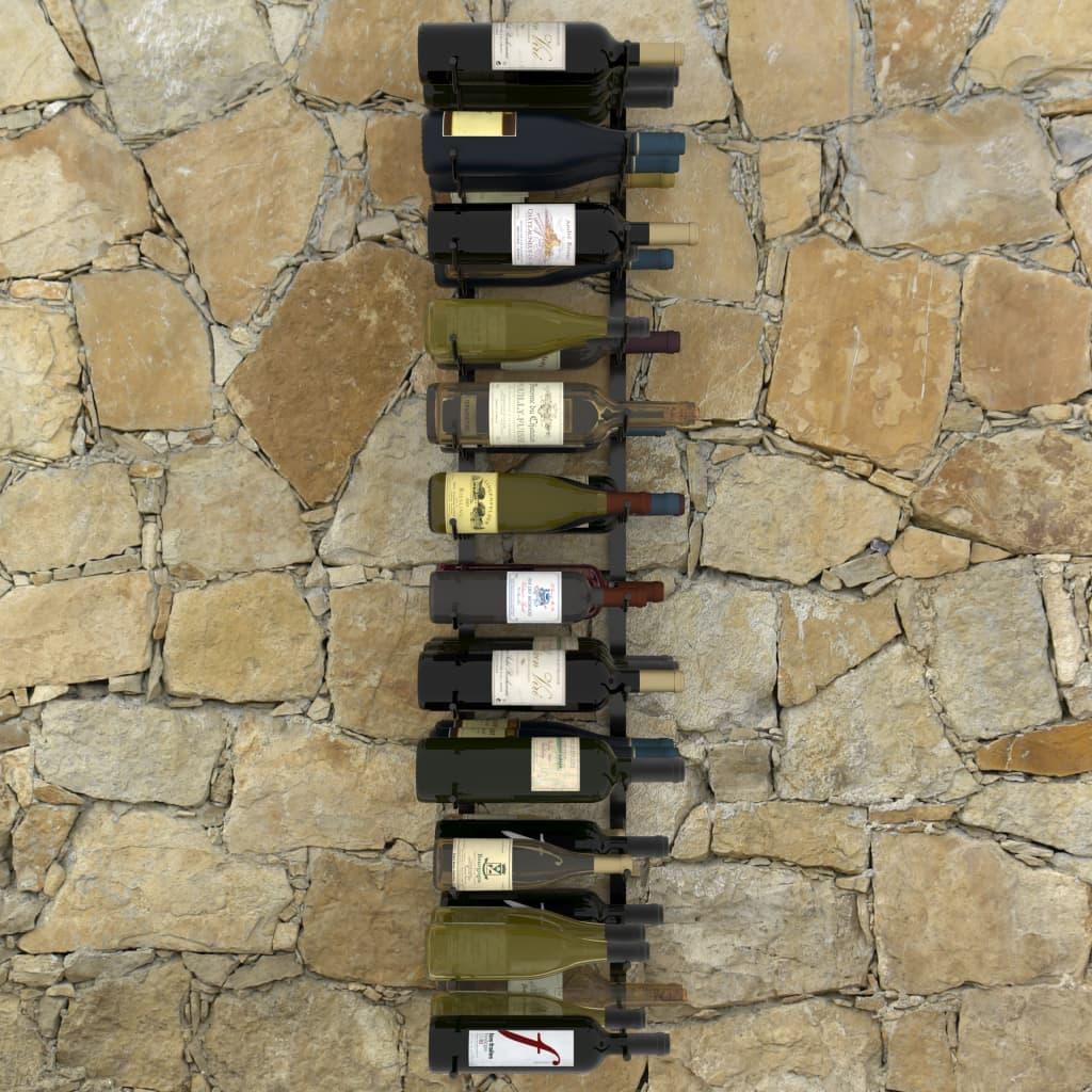 Väggmonterat vinställ för 36 flaskor svart järn