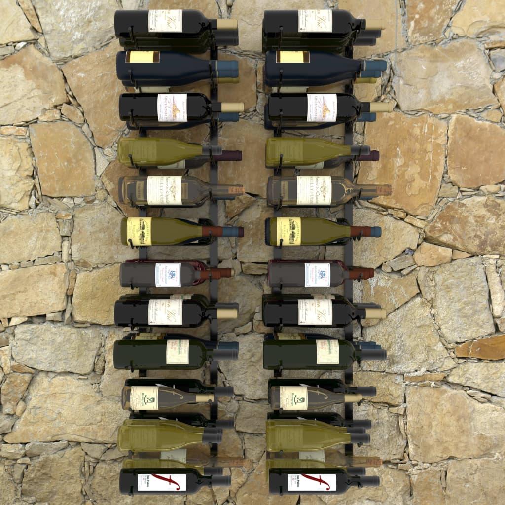 Väggmonterade vinställ för 72 flaskor 2 st svart järn