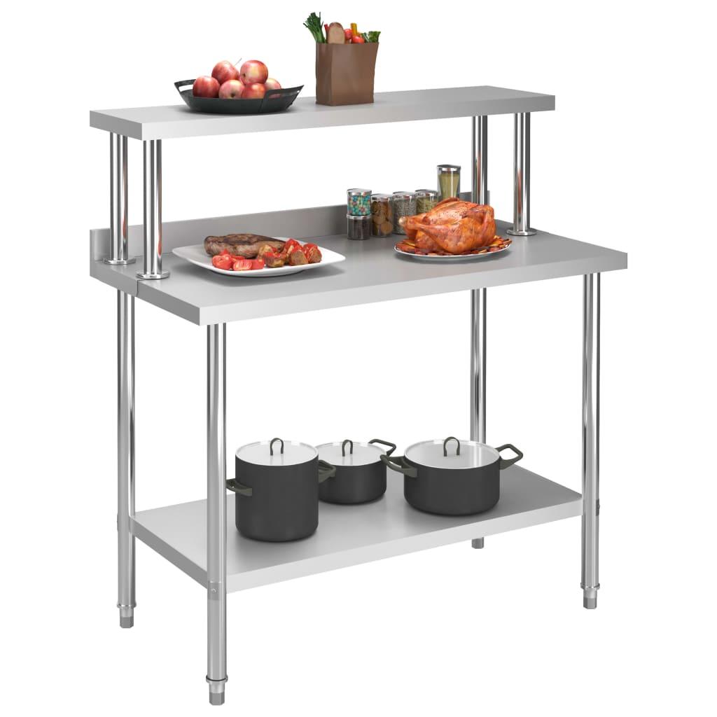 Arbetsbord med överhylla 120x60x120 cm rostfritt stål