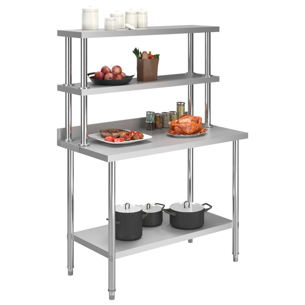 Arbetsbord med överhylla 120x60x150 cm rostfritt stål