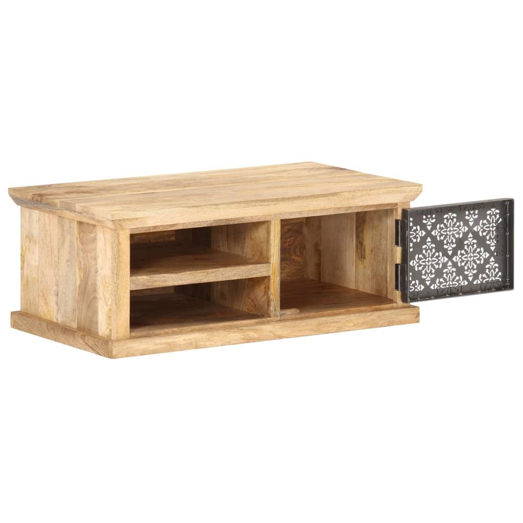 Soffbord med dörr 90x50x35 cm massivt mangoträ