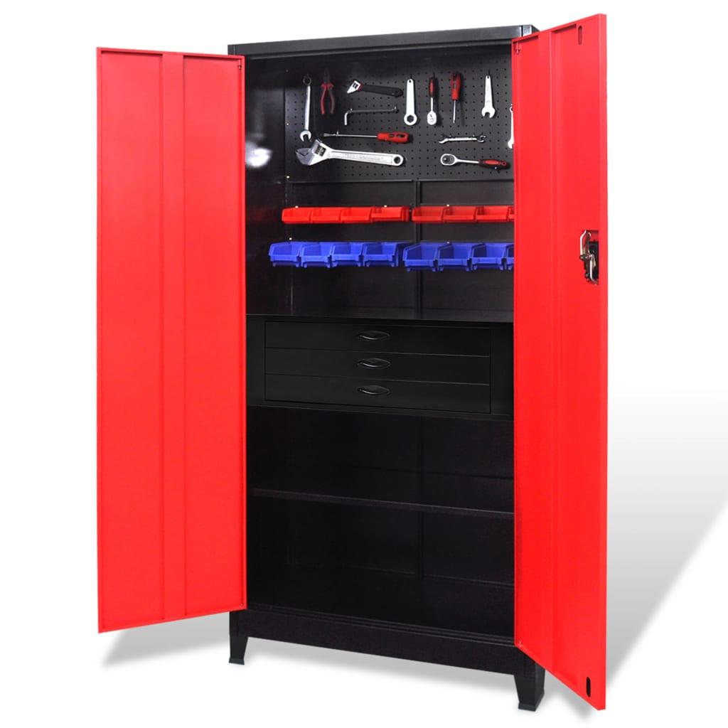 Verktygsskåp med kista stål 90x40x180 cm röd och svart