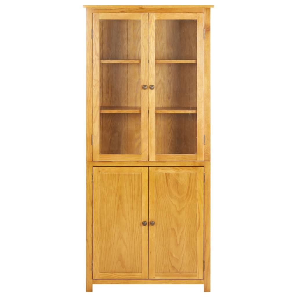 Bokhylla med 4 dörrar 90x35x200 cm massiv ek och glas