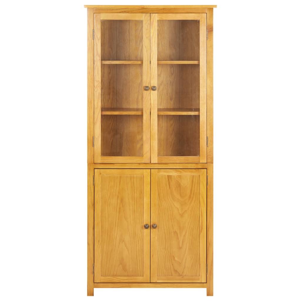 Bokhylla med 4 dörrar 80x35x180 cm massiv ek och glas