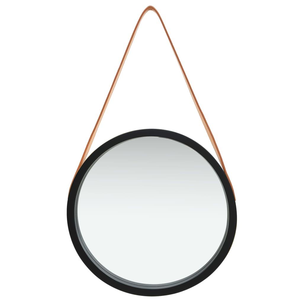 Väggspegel med rem 40 cm svart