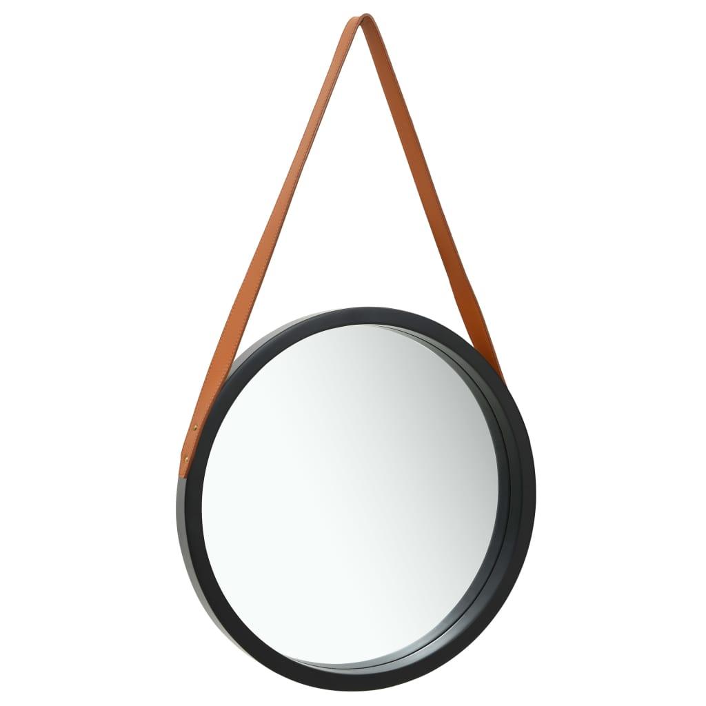 Väggspegel med rem 50 cm svart
