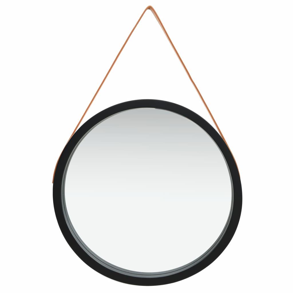 Väggspegel med rem 60 cm svart
