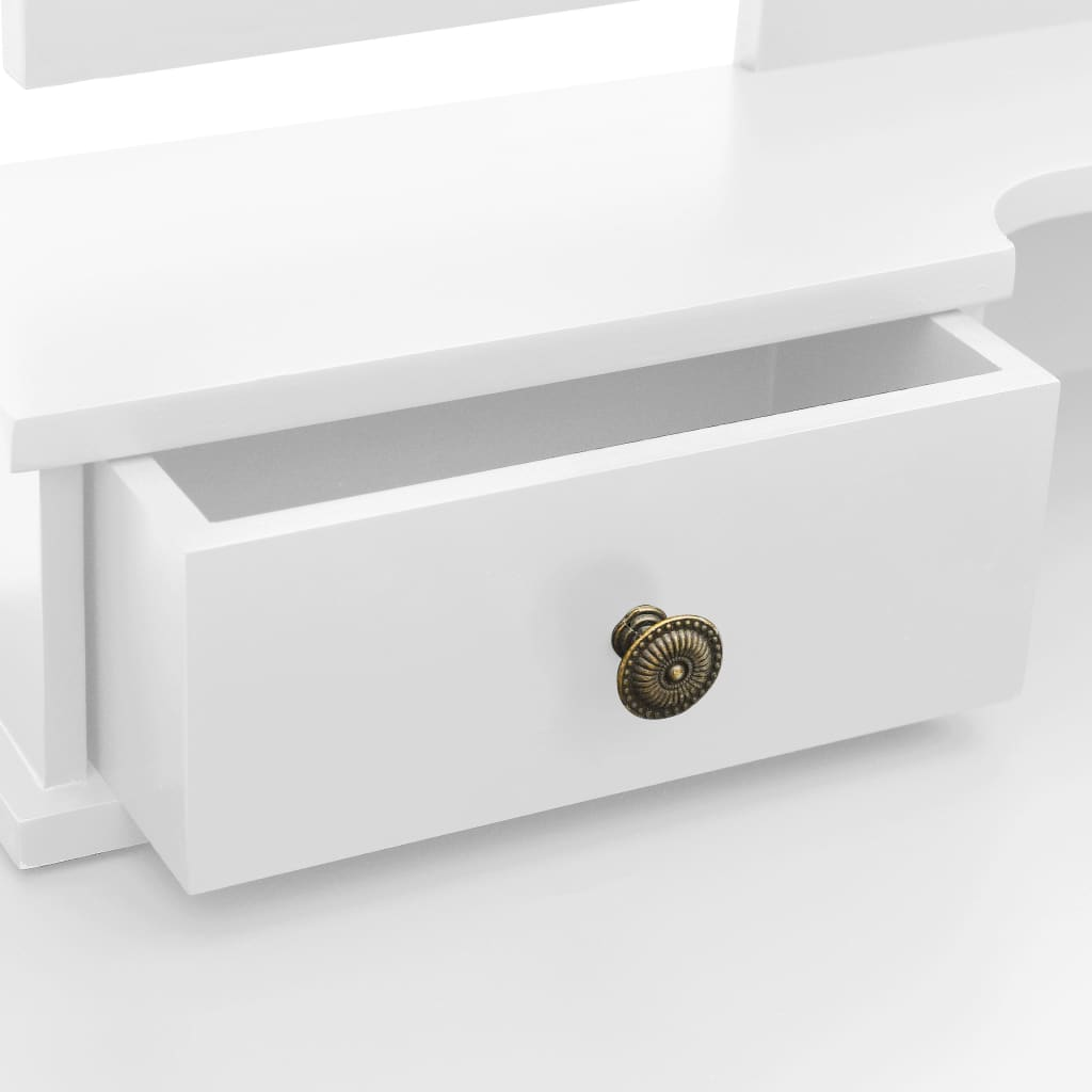 Sminkbord med pall vit 100x40x146 cm kejsarträ