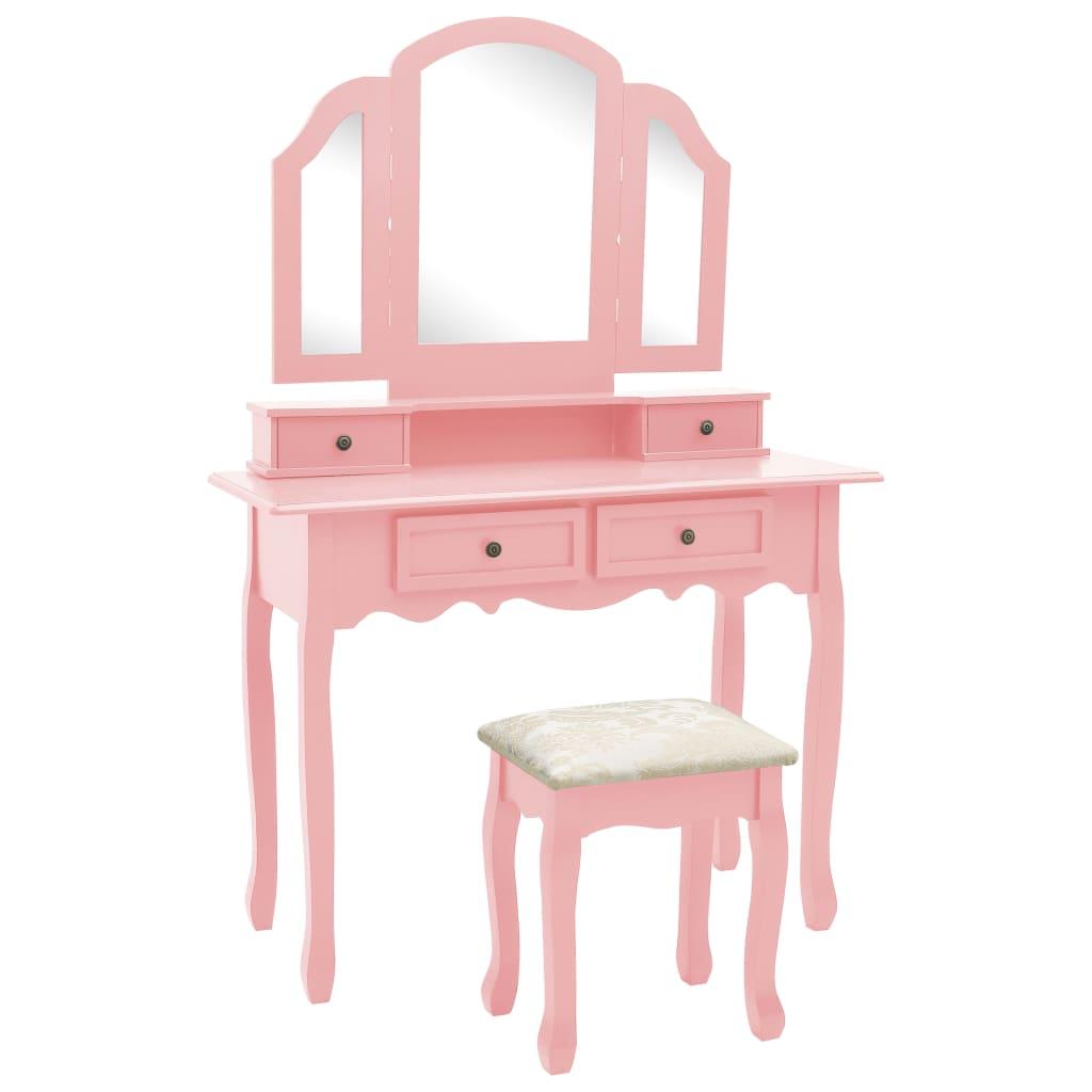 Sminkbord med pall rosa 100x40x146 cm kejsarträ
