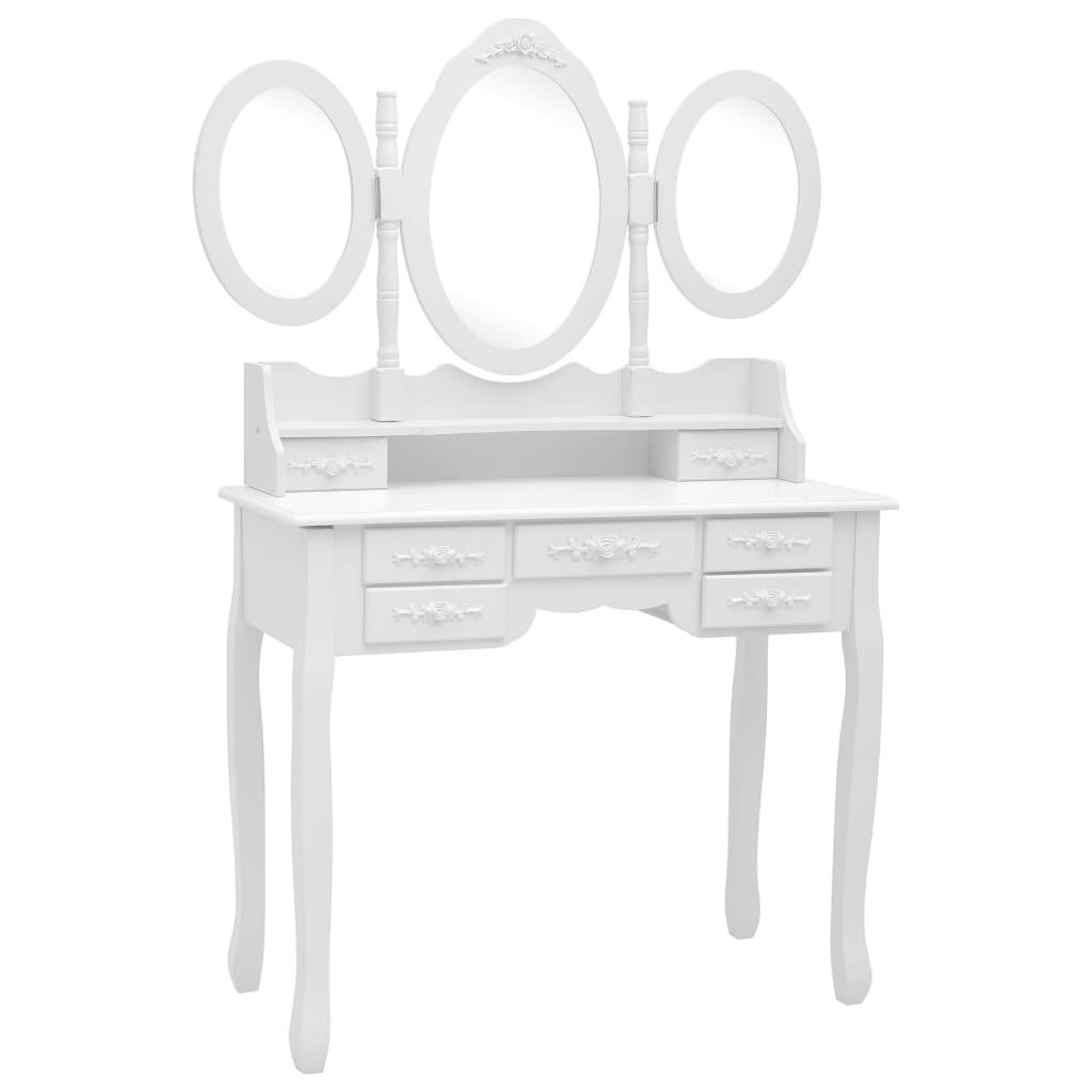 Sminkbord med pall och 3 speglar vit