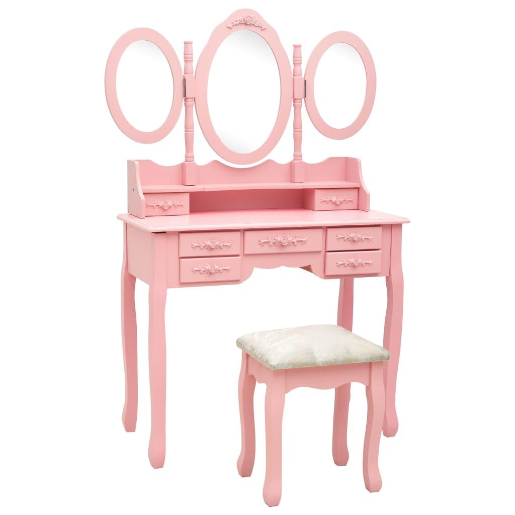 Sminkbord med pall och 3 speglar rosa