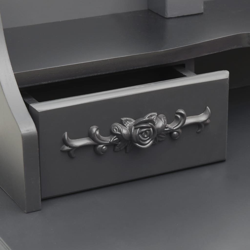 Sminkbord med pall och 3 speglar grå