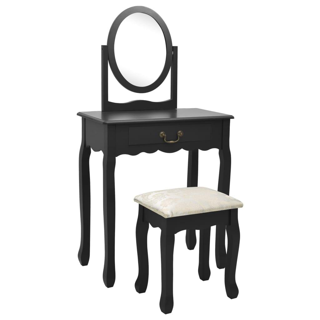 Sminkbord med pall svart 65x36x128 cm kejsarträ MDF