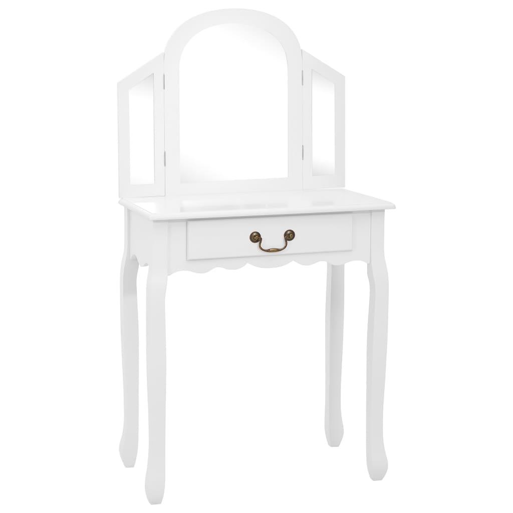 Sminkbord med pall vit 65x36x128 cm kejsarträ MDF