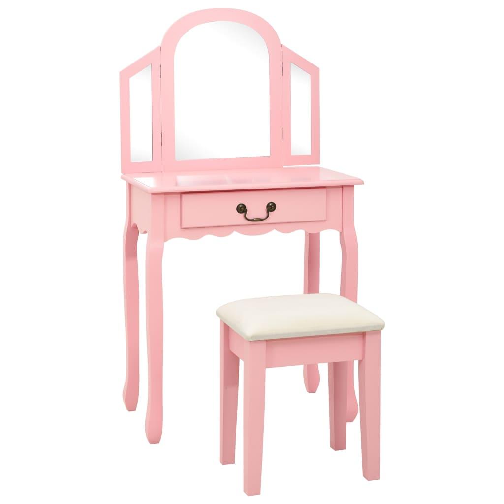 Sminkbord med pall rosa 65x36x128 cm kejsarträ MDF
