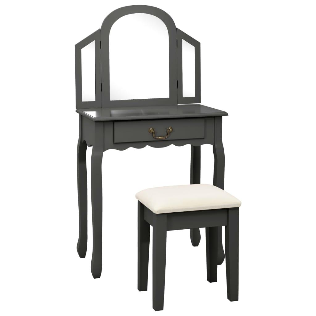 Sminkbord med pall grå 65x36x128 cm kejsarträ MDF