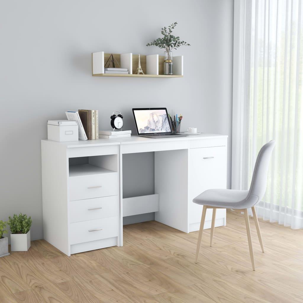 Skrivbord vit 140x50x76 cm spånskiva