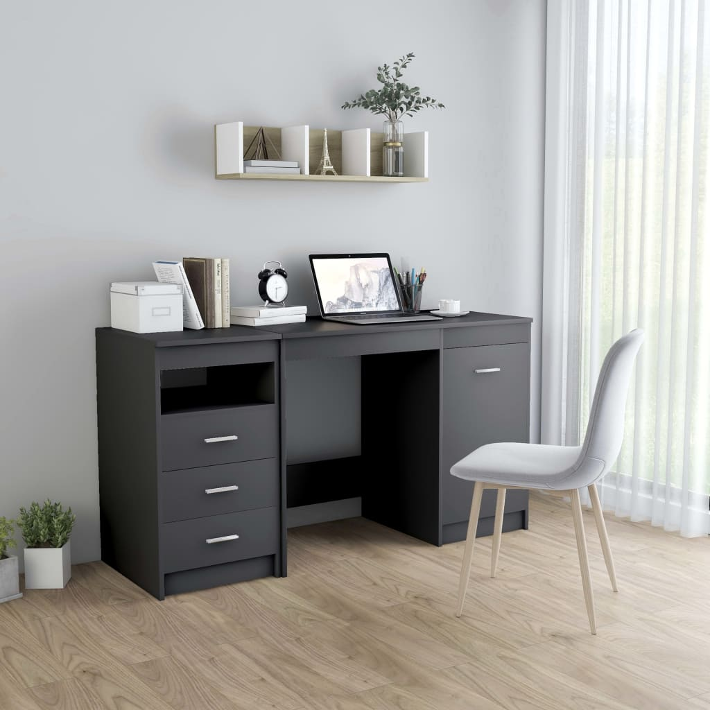 Skrivbord grå 140x50x76 cm spånskiva