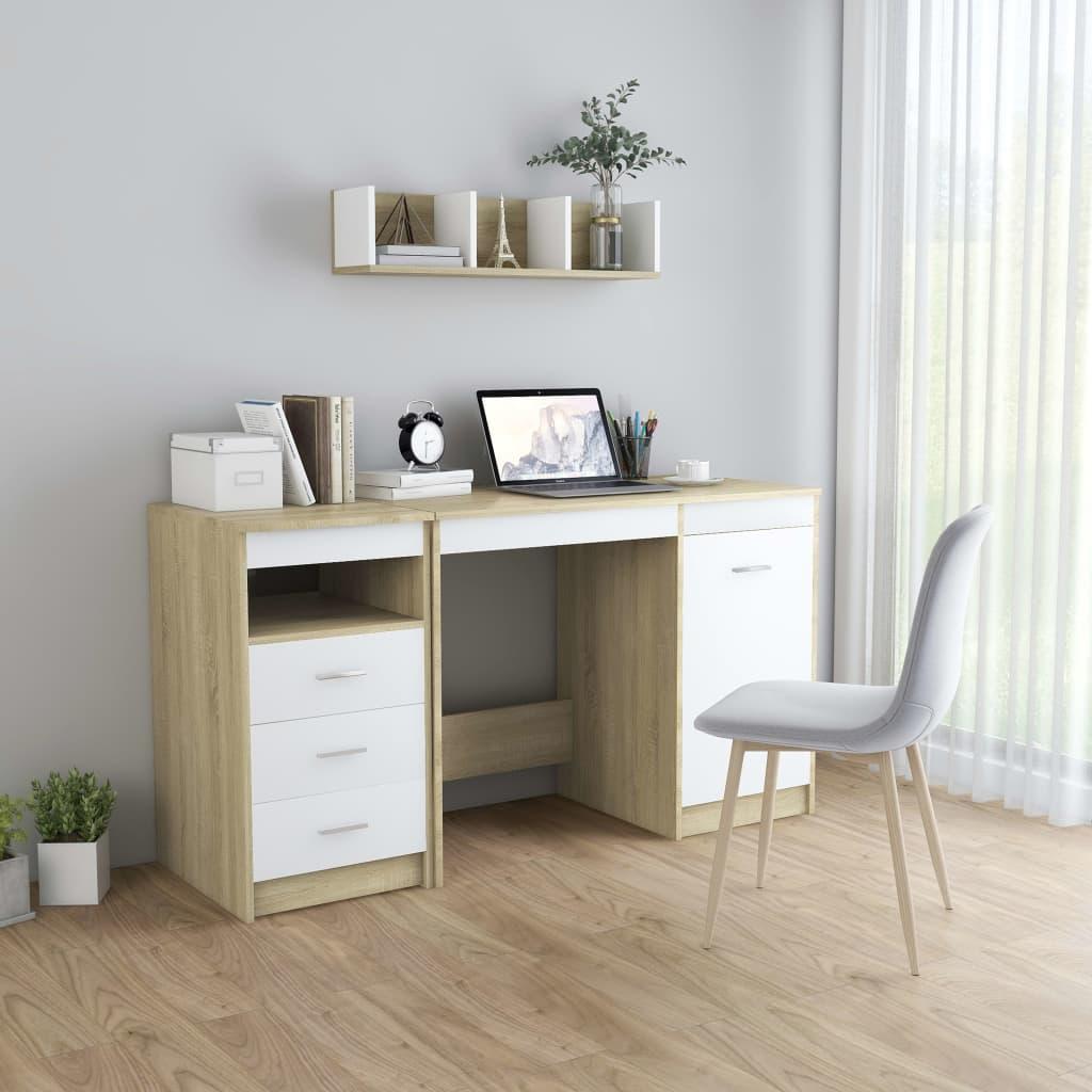 Skrivbord vit och sonoma-ek 140x50x76 cm spånskiva