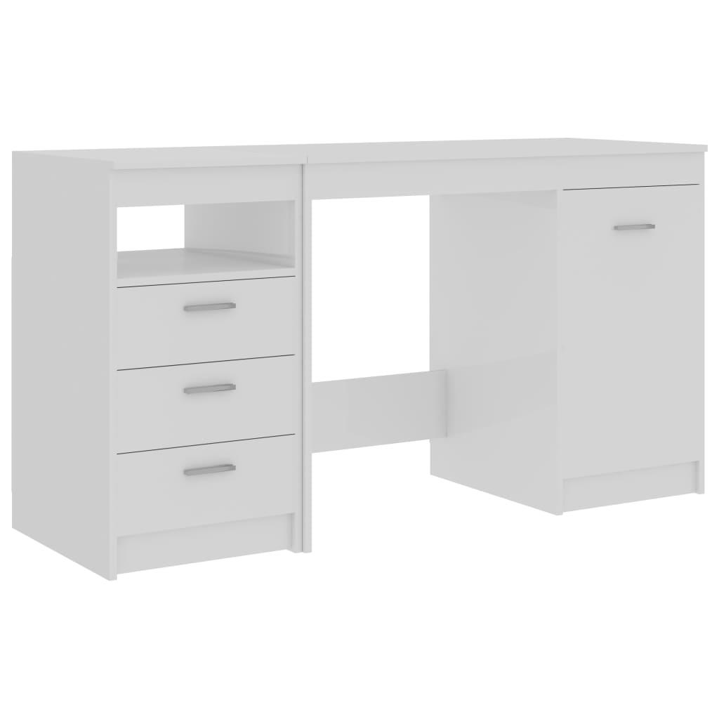 Skrivbord vit högglans 140x50x76 cm spånskiva