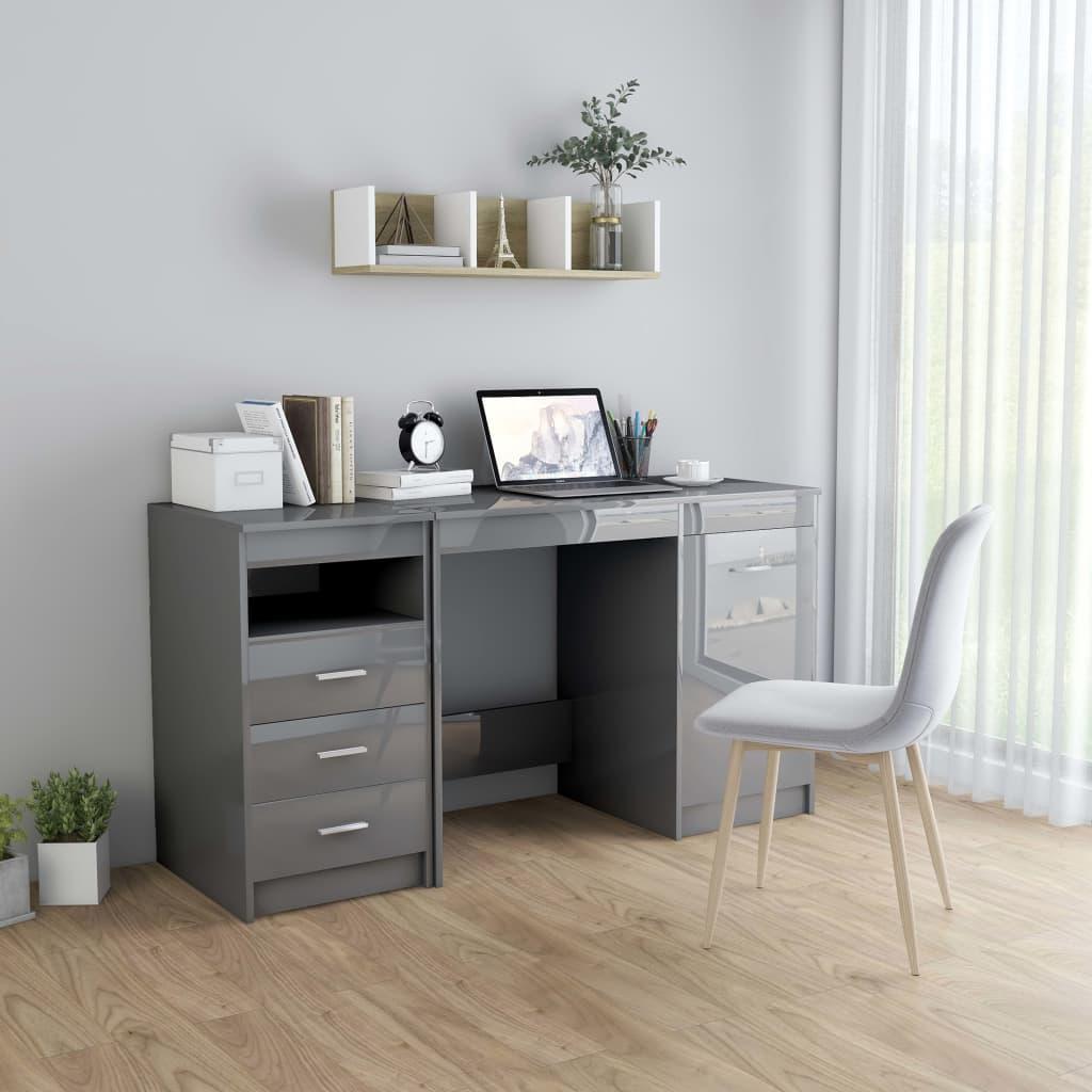 Skrivbord grå högglans 140x50x76 cm spånskiva