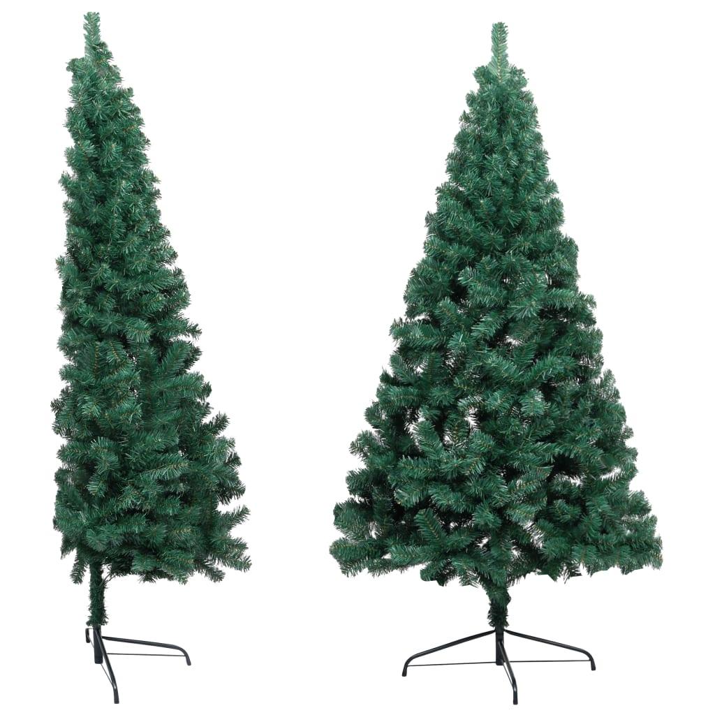 Halv plastgran med fot grön 185 cm PVC