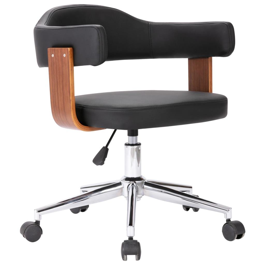 Snurrbar kontorsstol svart böjträ och konstläder