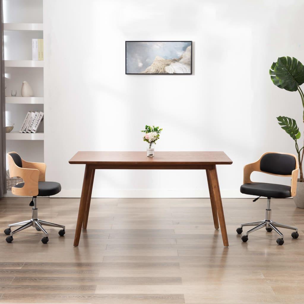 Snurrbar kontorsstol böjträ och konstläder svart