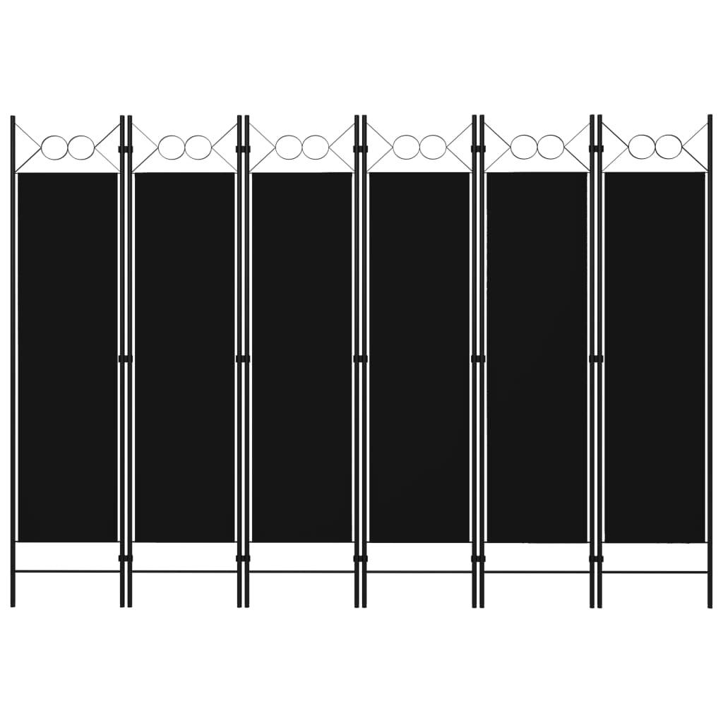 Rumsavdelare 6 paneler svart 240x180 cm
