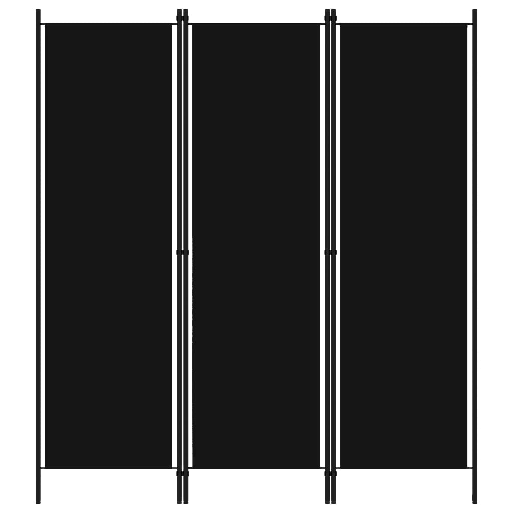 Rumsavdelare 3 paneler svart 150x180 cm