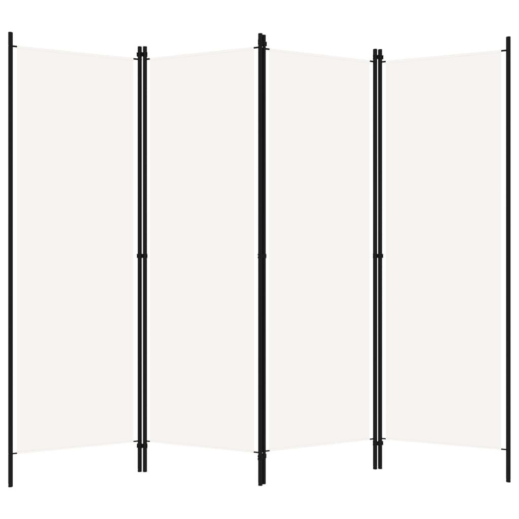 Rumsavdelare 4 paneler vit 200x180 cm