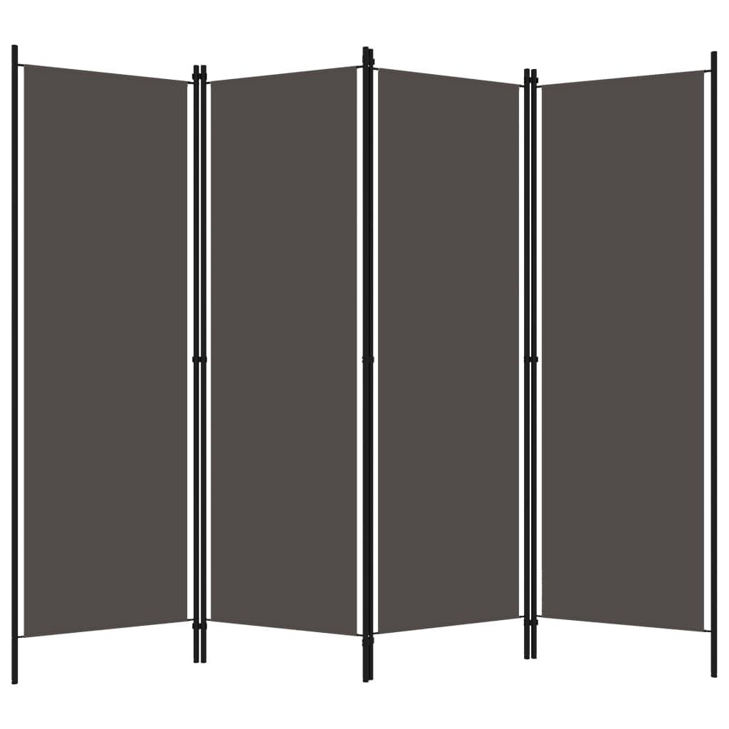 Rumsavdelare 4 paneler antracit 200x180 cm