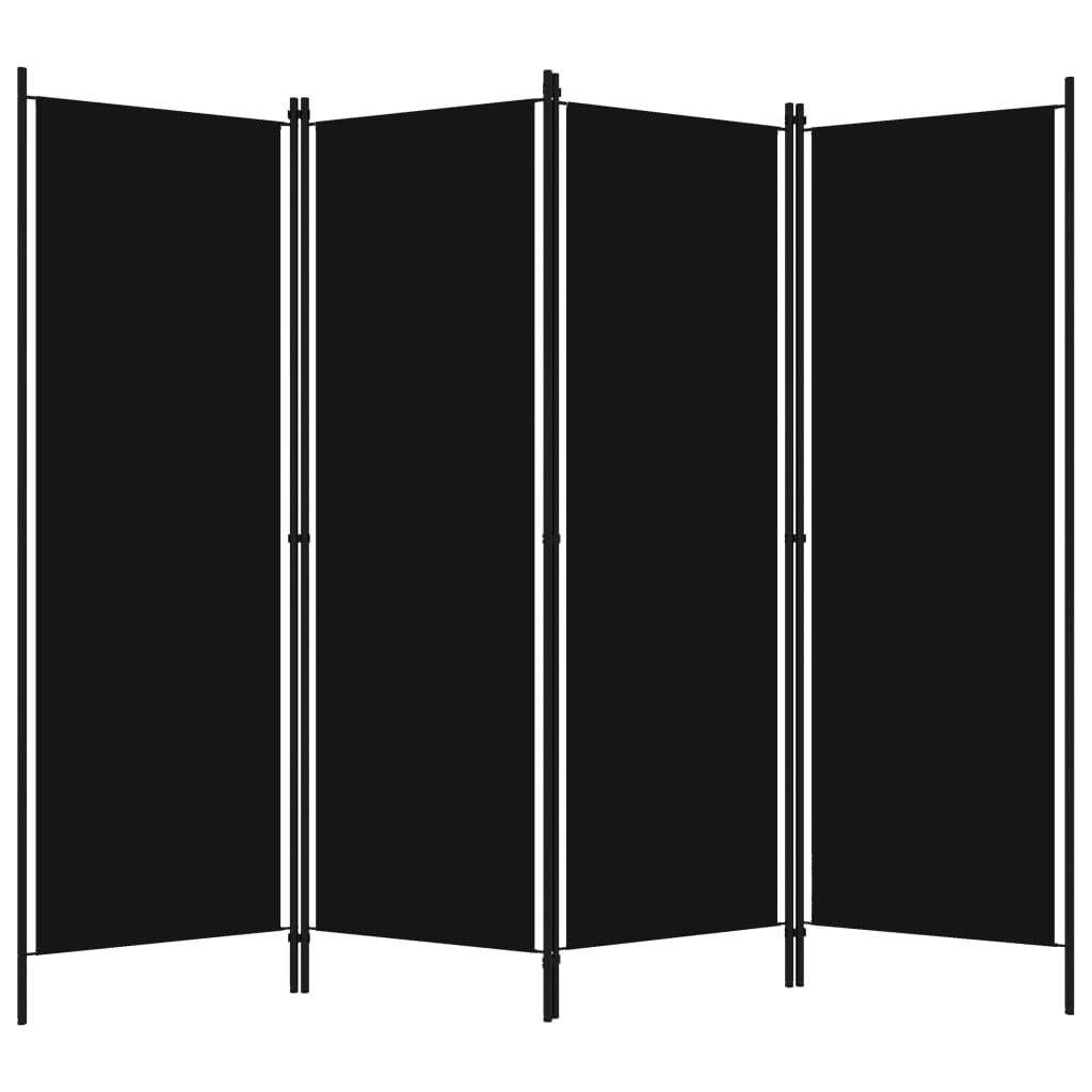 Rumsavdelare 4 paneler svart 200x180 cm