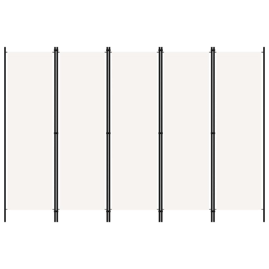 Rumsavdelare 5 paneler vit 250x180 cm