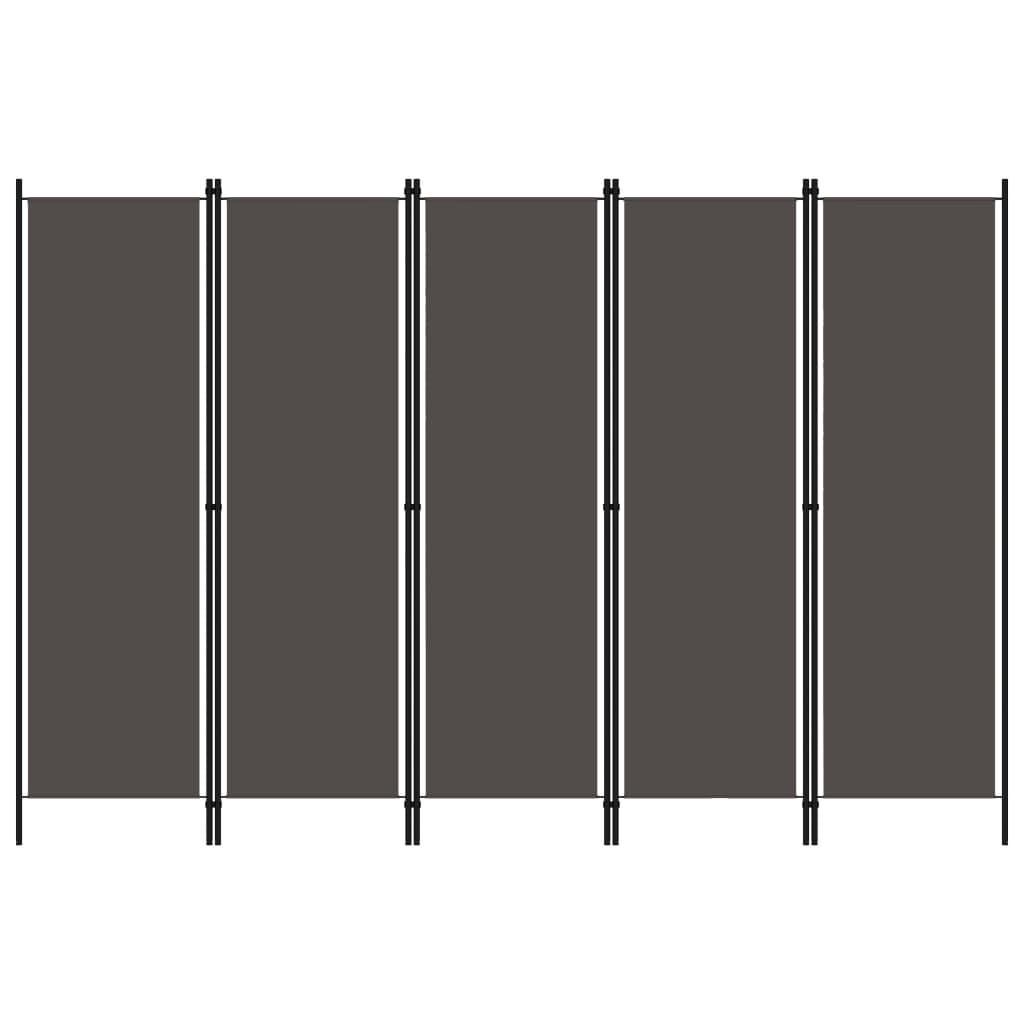 Rumsavdelare 5 paneler antracit 250x180 cm