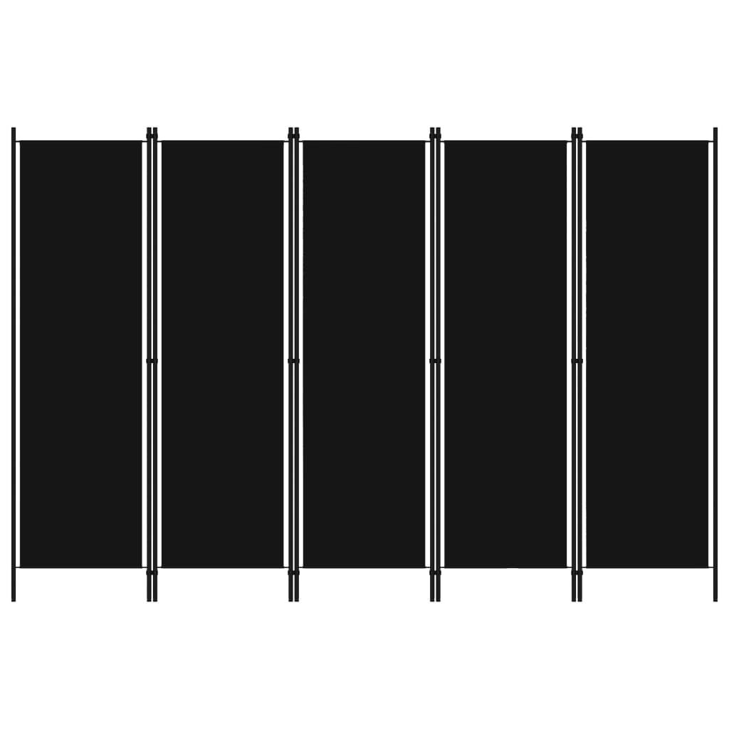 Rumsavdelare 5 paneler svart 250x180 cm