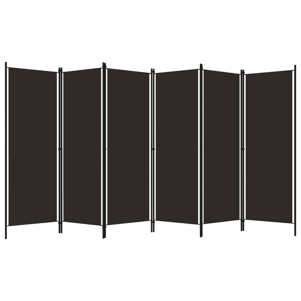 Rumsavdelare 6 paneler brun 300x180 cm