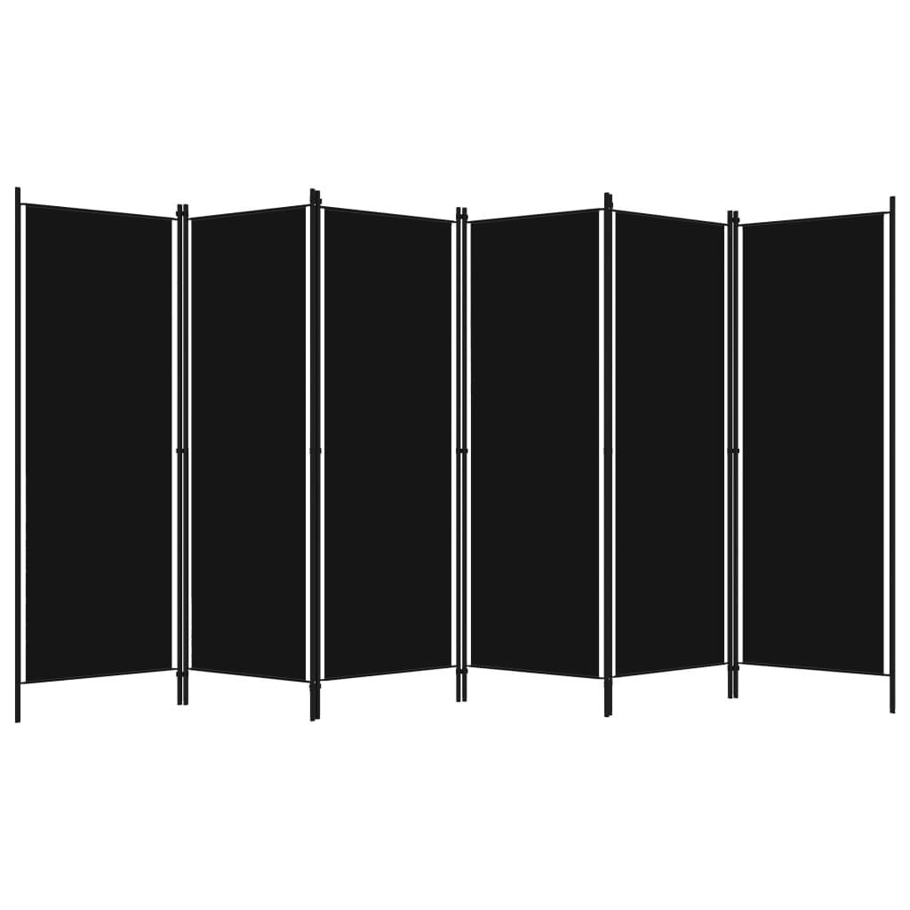 Rumsavdelare 6 paneler svart 300x180 cm