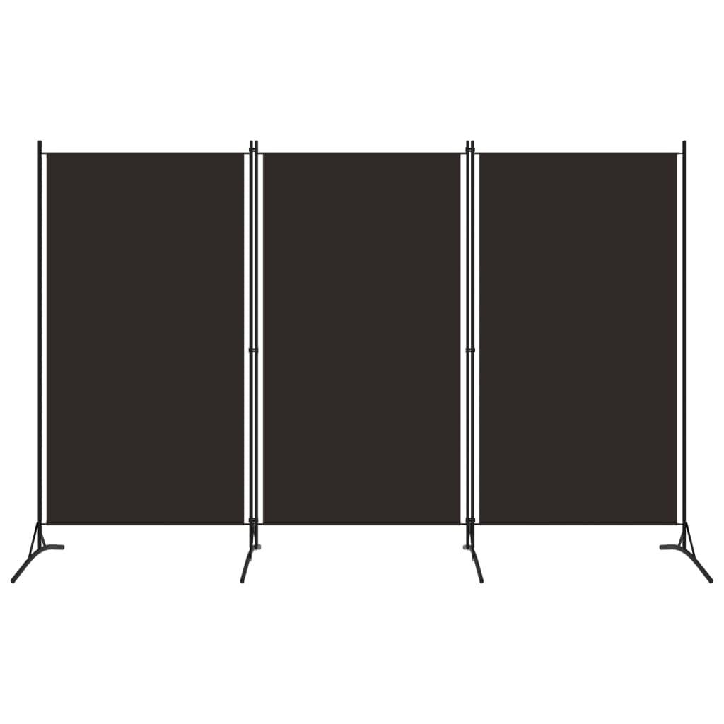Rumsavdelare 3 paneler brun 260x180 cm