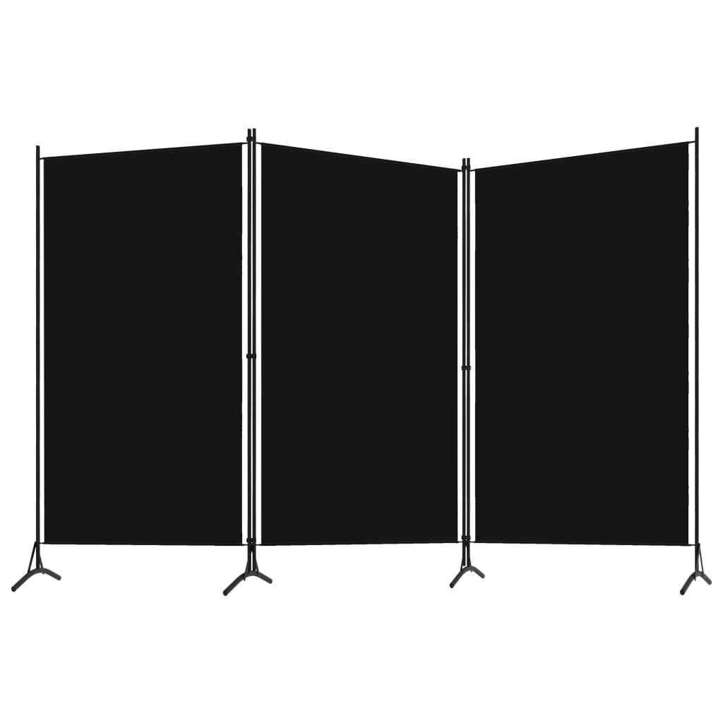 Rumsavdelare 3 paneler svart 260x180 cm