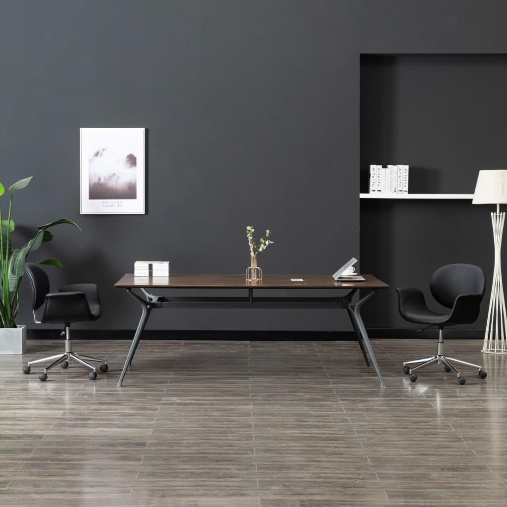 Snurrbara matstolar 2 st svart konstläder