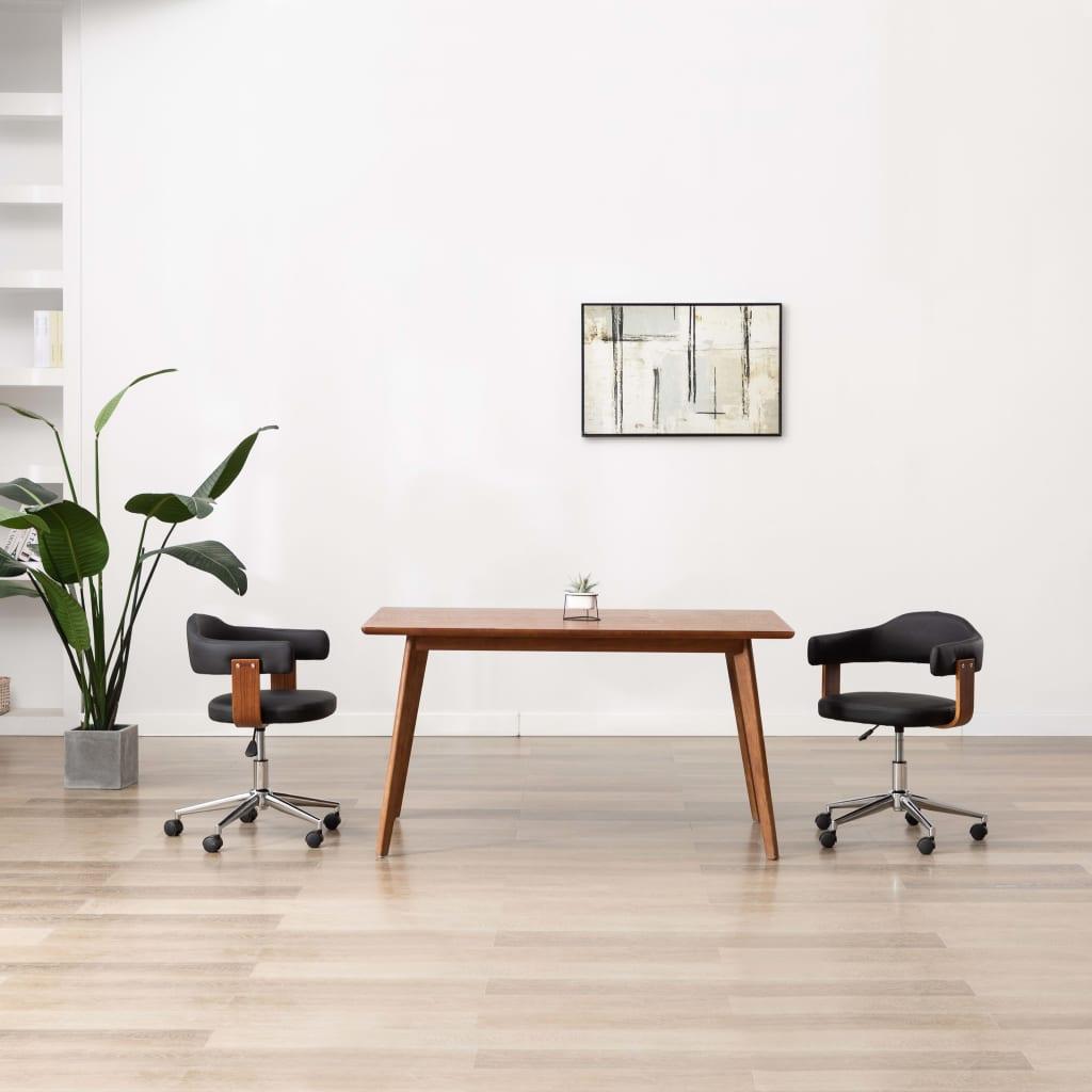 Snurrbara matstolar 2 st svart böjträ och konstläder