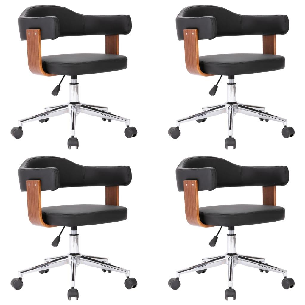 Snurrbara matstolar 4 st böjträ och konstläder svart